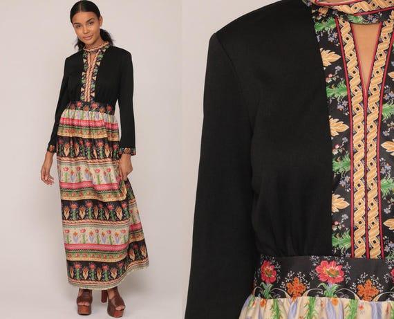 70s Maxi Dress Floral Print Boho Keyhole Hippie Choker Neck 1970s Long Sleeve Black Striped High Waist Vintage Bohemian Extra Large xl