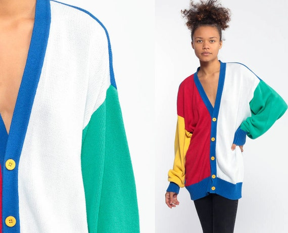 Color Block Sweater 80s Cardigan Primary Color Slouchy 1980s Long White Red Yellow Blue Oversize Vintage Retro Slouch Large