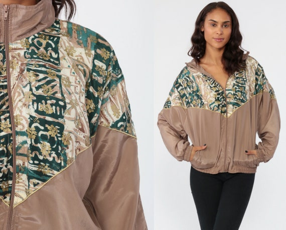 Shiny Taupe Windbreaker Jacket 90s Tribal Abstract Print Bomber Zip Up Jacket 1990s Long Sleeve Vintage Tan Brown 1990s Streetwear Medium