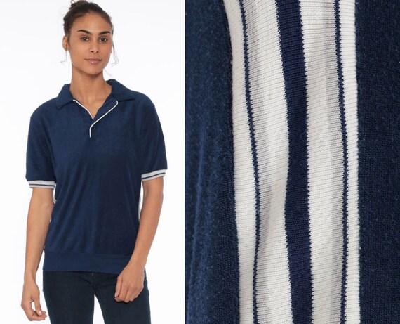 80s Striped Terry Cloth Shirt Short Sleeve Shirt Shirt White Navy Blue Shirt Striped 1980s Collared Shirt Retro Tee Vintage Medium