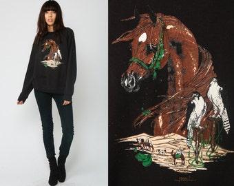 HORSE Sweatshirt 80s SAHARA DESERT Shirt Animal Shirt Camel Bird Jumper Graphic Raglan Sleeve Pullover 1980s Hipster Vintage Black Large r8uYPnu