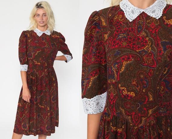 80s Paisley Dress Midi LACE COLLAR Low Waist Secretary Puff Sleeve Boho Vintage 1980s Long Bohemian Small Medium