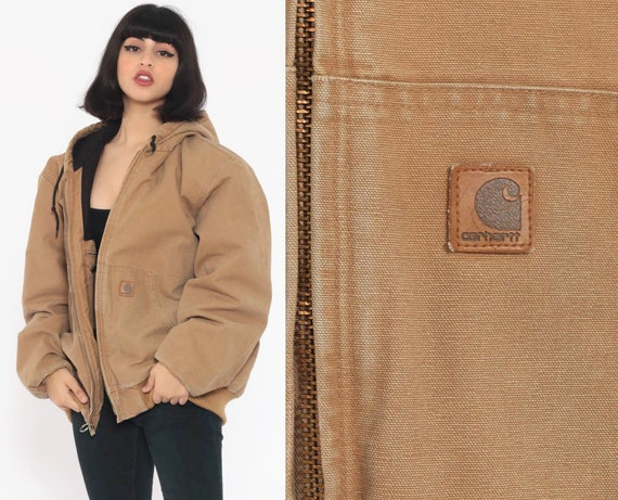 90s Hooded Carhartt Jacket -- Tan Work Wear Cargo Brown Jacket Hood Coat Grunge Zip Up Coat Vintage Hoodie Workwear 1990s Extra Large xl