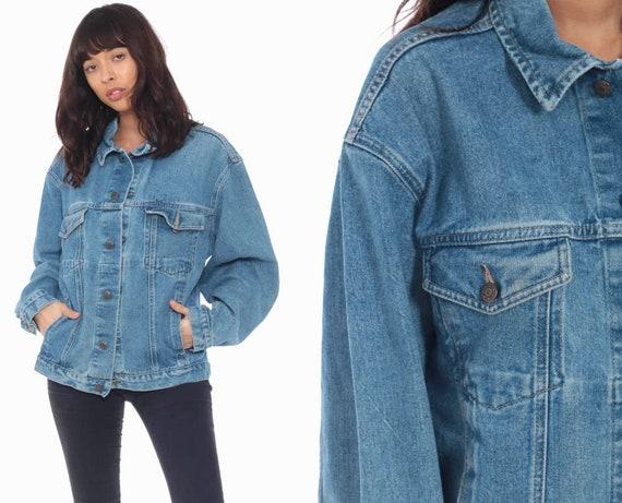 Blue Denim Jacket -- 80s Jean Jacket Denim Jacket Oversized Trucker 90s Vintage Biker Grunge Oversize Blue Jean Jacket Medium Large