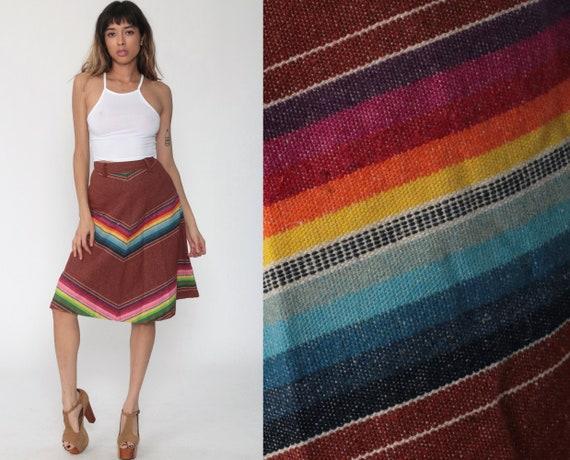 70s Boho Skirt 2xs CHEVRON Stripe 1970s Retro Hippie Midi Rainbow Skirt Brown Vintage High Waist Boho Ethnic Bohemian Extra Small xxs