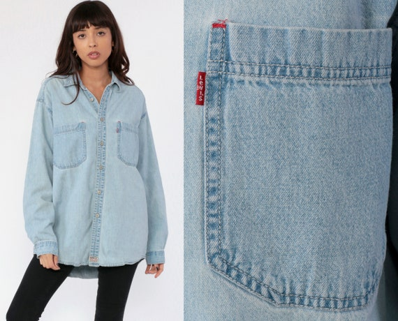 Levis Denim Shirt Button Up Shirt Levi Jean Shirt 90s Blue Grunge Long Sleeve Cotton Oversized Button Down Medium Large