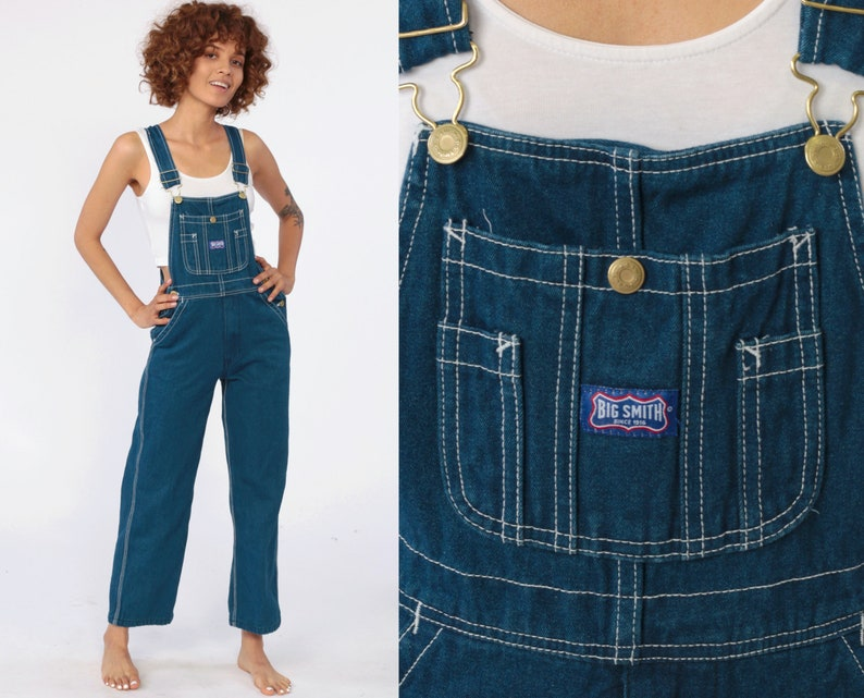save off store wholesale Overalls Pants xxs Petite 90s BIG SMITH Bib Overall Denim Jean Dungarees  Baggy Coveralls 1990s Vintage Grunge Carpenter Extra Small 2XS