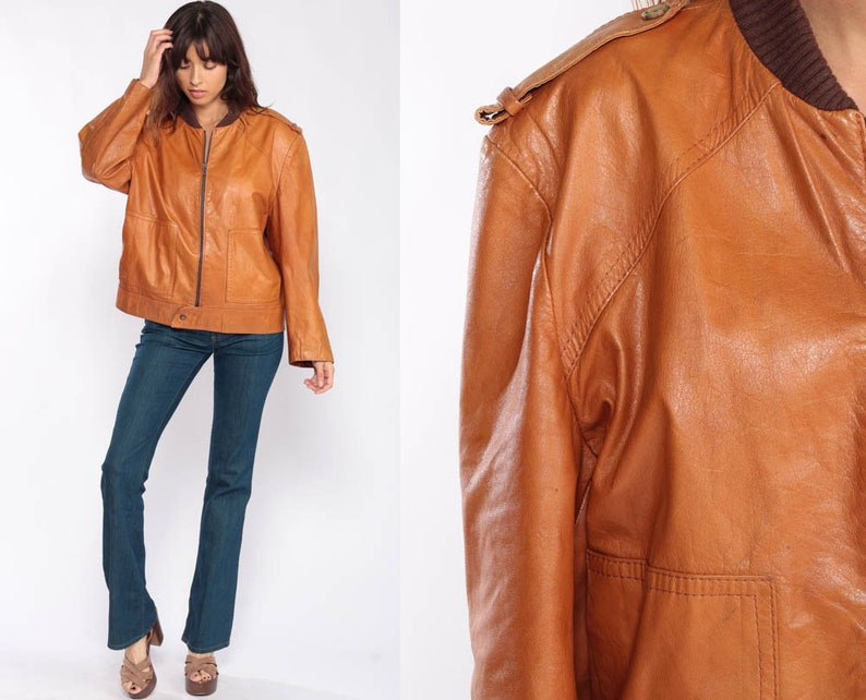 ac7809556 Brown Leather Jacket BOMBER Coat Leather Moto Jacket 70s Biker Motorcycle  Flight Caramel Vintage 1970s Hippie Hipster Bohemian Extra Large