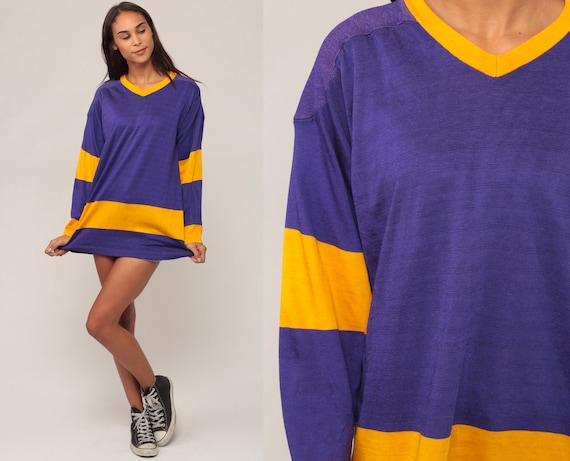 Football Jersey Shirt Sports Athletic Purple Ringer Tee Striped Top 80s Shirt V Neck Retro Long Sleeve Tshirt Vintage 1980s Medium Large