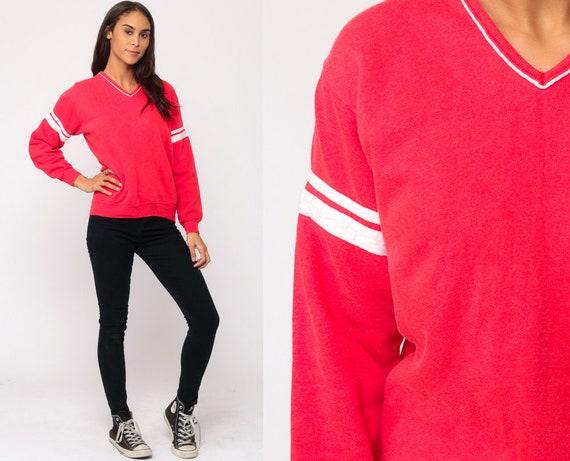 V Neck Sweatshirt Red Sweatshirt 80s Sweatshirt Striped Sweatshirt Long Sleeve Shirt Retro Slouchy 1980s Top Vintage Hipster Small Medium
