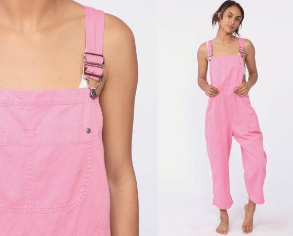 90s Pink Overalls Women 1990s Grunge Suspender Pants Baggy Bib Cargo Vintage Dungarees Coveralls Retro Streetwear Medium Large Short