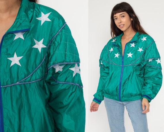 90s Star Windbreaker Green Jacket 80s Coat Slouchy Track Jacket Shiny Oversized Vintage 1980s Retro Medium Large