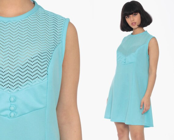 Mod Mini Dress 60s Shift Baby Blue Cut Out Dress 70s Twiggy Sheer Space Age Polyester Vintage Sleeveless Minidress Medium Large 10