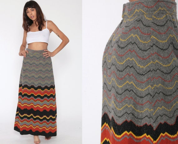 Long Wool Skirt 70s Psychedelic Striped Grey Maxi Skirt Boho Angora 1970s Hippie Bohemian High Waisted Wavy Vintage Straight Small 6