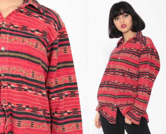 Fleece Southwestern Shirt Tribal Shirt Aztec Shirt 90s Southwest Navajo Long Sleeve Button Up Vintage Red Medium