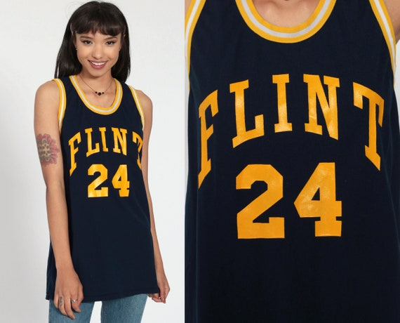 Flint Michigan Shirt University Basketball Jersey 80s College T Shirt 24 Numbered Graphic Jersey Tee Sports Vintage Retro Small Medium