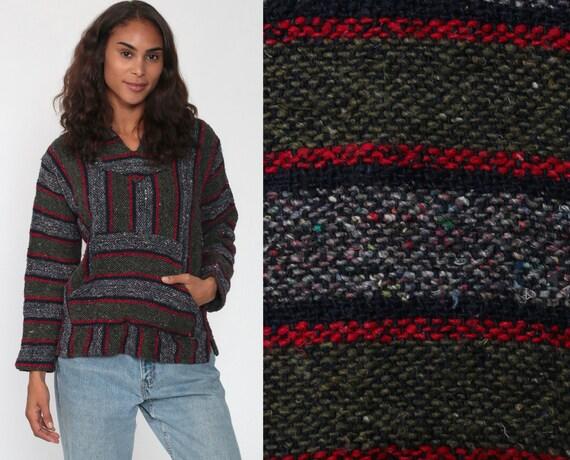 Hoodie Sweatshirt Mexican Sweater Drug Rug Woven Hippie Boho Hoodie Ethnic Jacket Vintage Blanket Bohemian Stripe Gray Small Medium