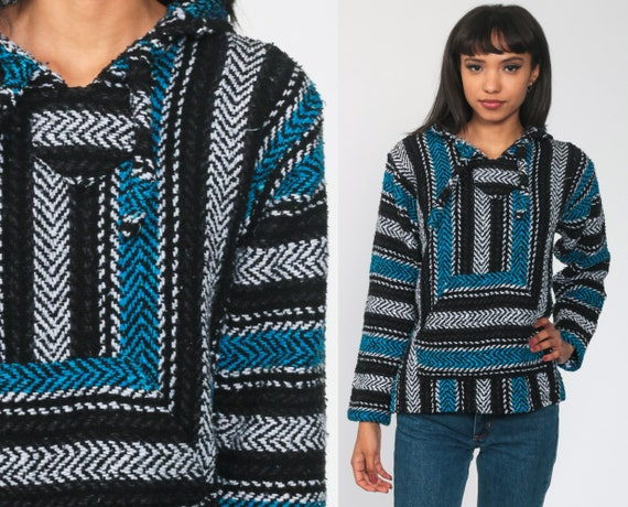 Baja Hoodie Mexican Blue Drug Rug Sweatshirt Black Hippie Boho Hooded Ethnic Vintage Blanket Stripe Bohemian Kangaroo Small