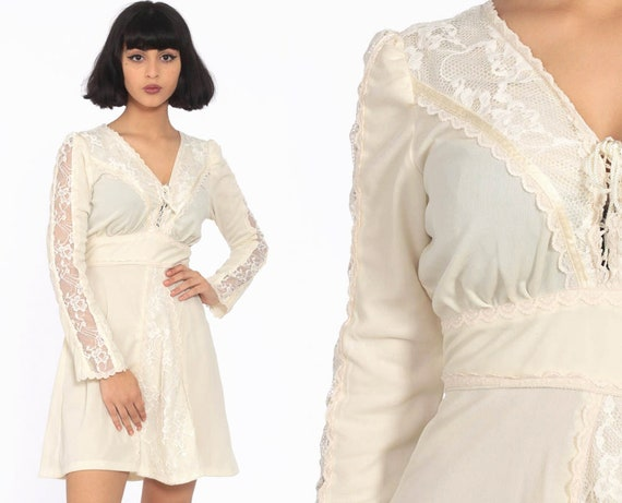 Cream Lace Dress 70s Mini Boho Babydoll Lace Up Dolly Lace Up CORSET Bohemian 1970s Long Sleeve Hippie Vintage Peasant Small