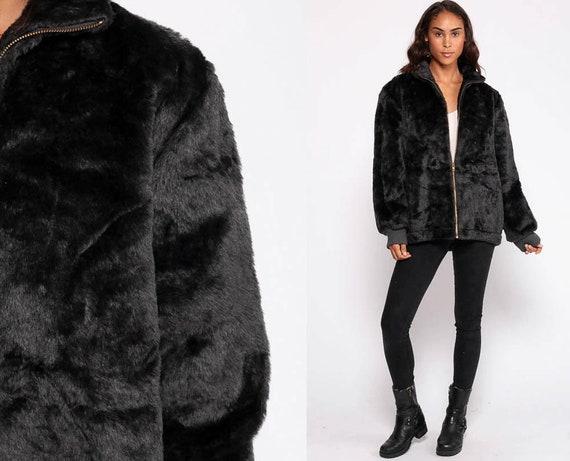 Faux Fur Coat Black Fake Fur Jacket Vegan Vintage 90s Bohemian Jacket Boho Furry Glam Rock Fuzzy Zip Up Bohemian Winter Extra Large xxl 2xl