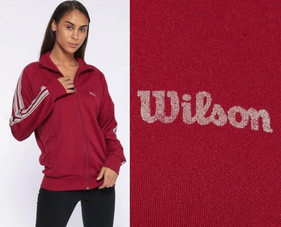 Wilson Zip Up Sweatshirt 80s Track Jacket -- Striped Dark Red Warmup 1980s Burgundy Unisex Athletic Tennis 90s Unisex Vintage Small Medium