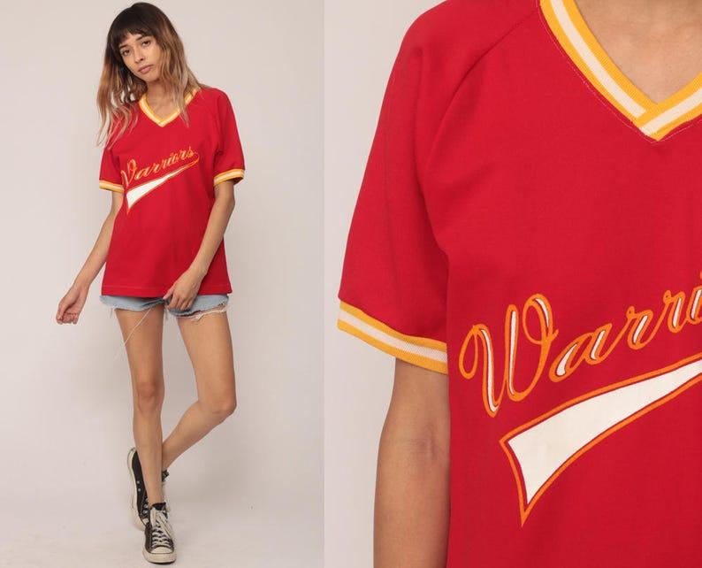 c71af61a9919c Baseball Tee Ringer Shirt WARRIORS 11 Red Shirt V Neck TShirt 80s T Shirt  Graphic Sports Shirt Retro Raglan Sleeve Vintage Medium