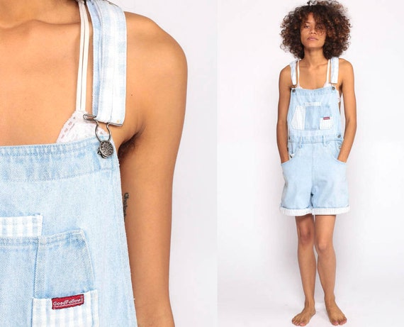 Denim Overall Shorts GINGHAM PATCH Shortalls 90s Grunge Jean Bib Suspender Blue Checkered Plaid Woman Vintage 80s Romper Small