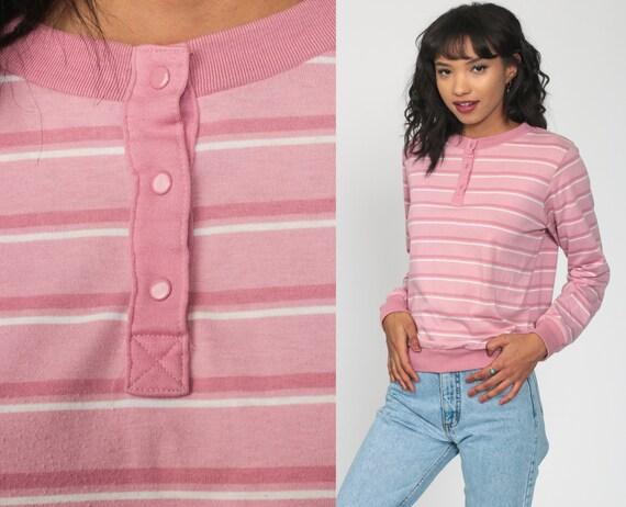 80s Pink Top Striped Shirt Long Sleeve Shirt Slouchy Top Retro Tshirt Polo Shirt Vintage 1980s Stranger Things Pastel Eighties Shirt Small s