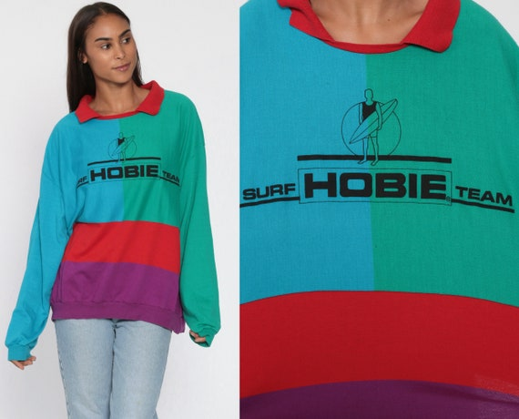 Hobie Sweatshirt Color Block Sweatshirt 90s Blue Green Collared Surf Team Sweatshirt Red Slouchy Pullover 90s Plus Size Extra Large 3XL xxl
