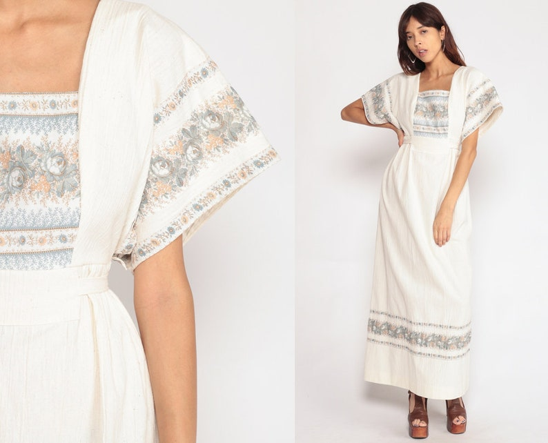 a6b232543073c 70s Maxi Dress Boho Floral Print KIMONO Sleeve Dress White Cotton 1970s  Hippie Bohemian Empire Waist Festival Vintage Hippy Small Medium