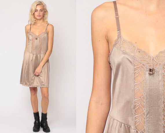 80s Slip Dress Mini LACE Sheer Lingerie Nylon Taupe Mocha Slip Brown Vintage 1980s Drop Waist Spaghetti Strap Nightgown Small Medium