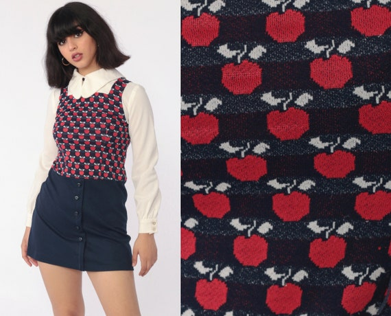 Apple Babydoll Mini Dress 70s Mod Mini FRUIT Print Peter Pan Collar Boho 60s Vintage Red Navy Blue Vintage Dolly Long Sleeve Extra Small xs