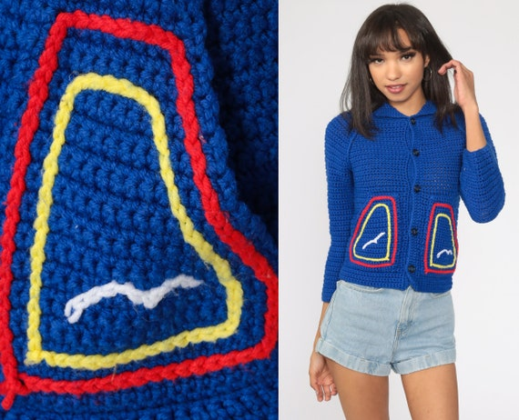 70s Sailboat Sweater Hooded Cardigan Sweater Boho Sweater Royal Blue Bird Sweater Hoodie Button Up Vintage Hippie 1970s Extra Small xs