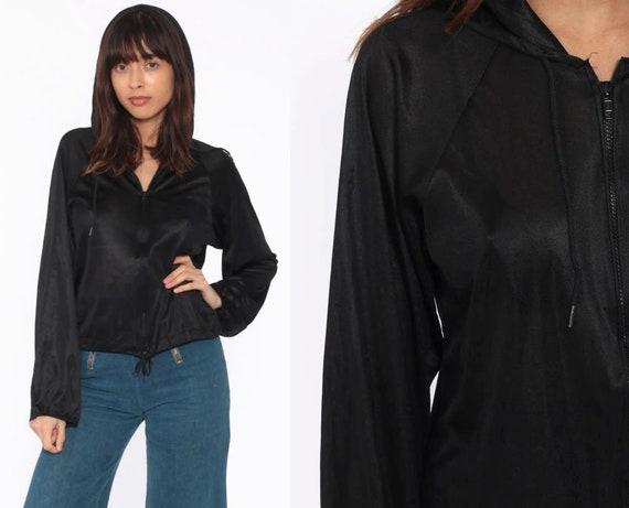 Hooded Nylon Jacket 70s Black Hoodie Top Zip Up Hoodie Shirt Light Vintage 1970s Lightweight Small