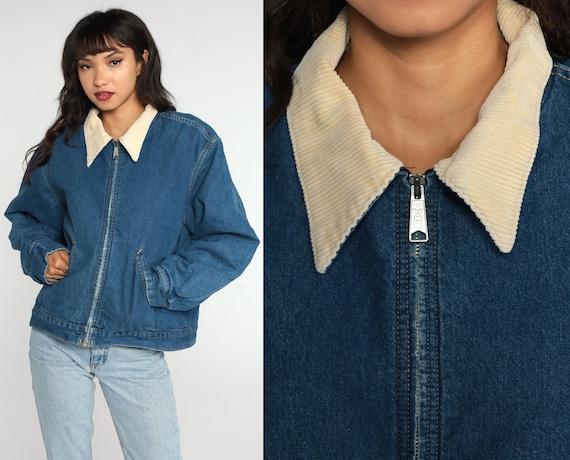 Lined Denim Jacket 70s Jean Jacket Blue Workwear Blanket Lined CORDUROY COLLAR Work Wear Vintage 1970s Zip Up Extra Large xl