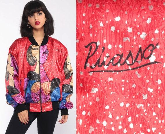 90s Picasso Jacket Korea Jacket Bomber Jacket Modern Art 80s Windbreaker Red Silky Boho Artist Print Vintage Small Medium Extra Large xl