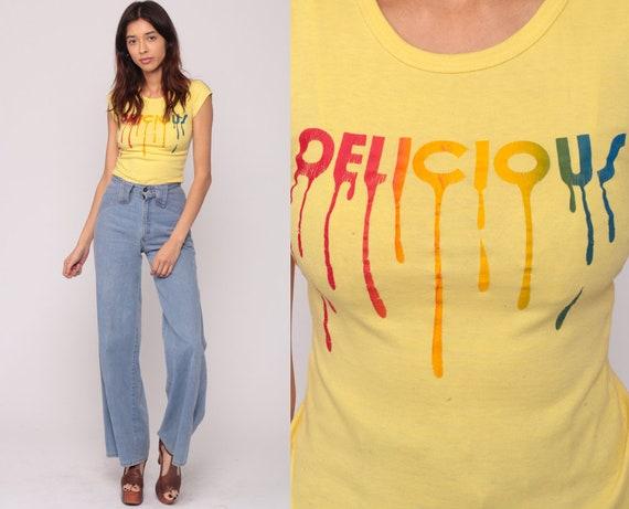 Retro TShirt DELICIOUS Shirt Graphic Shirt Vintage T Shirt 70s Tee Hipster Tshirt Slogan Baby Tee Girly Short Sleeve 80s Extra Small xs