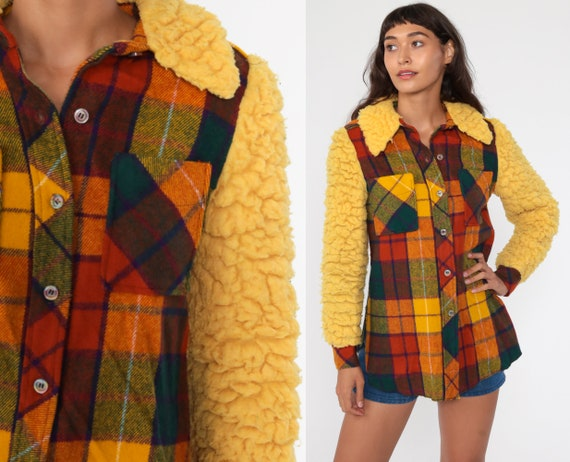 70s Plaid Shirt Yellow Faux Sherpa Sleeve Flannel Red Lumberjack Jacket Button Up Long Sleeve 1970s Shearling Vintage Small S