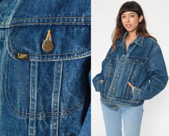 80s Denim Jacket LEE Jean Jacket Grunge Dark Blue Oversize 70s Vintage Biker Oversized Button Up Trucker Jacket Medium Large