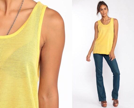 Yellow Tank Top Sheer Mesh Tank Top 80s Jersey Shirt Retro Sports Running Cutout 1980s Sleeveless Vintage Large