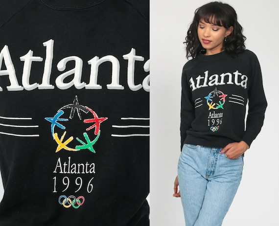 Atlanta Olympics Shirt 1996 USA Olympics Sweatshirt Crewneck Sweatshirt 90s Sweatshirt Black Slouchy 1990s Vintage Sweat Shirt Small