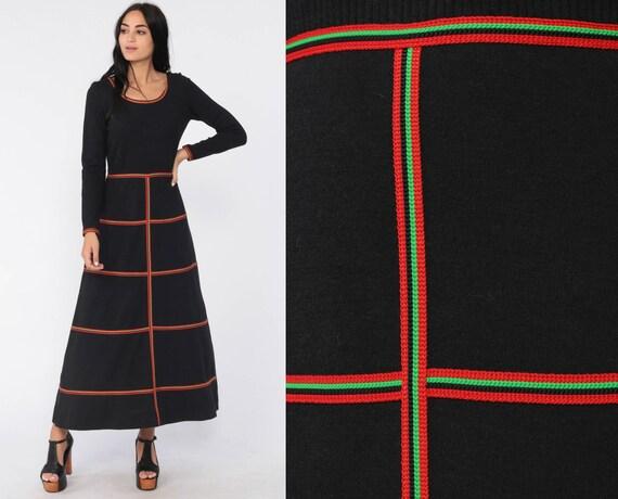 Long Black Dress 70s Mod Maxi Dress Hippie Boho Retro Dress 1970s Bohemian Color Block Ringer Vintage Long Sleeve High Waist Small xs