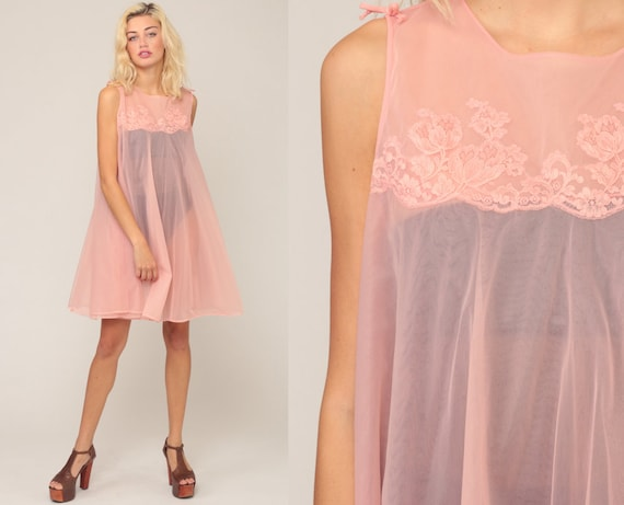 Sheer Nightgown Lingerie Babydoll Mini 70s Nightie FLOATY Slip Dress Nylon Nightie Boho Baby Pink Vintage Tent Bohemian Medium