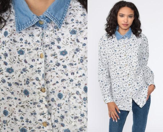 Denim Collar Shirt FLORAL Blouse 90s Button Down 80s Jean Grunge White Blue Top 1980s Vintage Long Sleeve up Retro Large