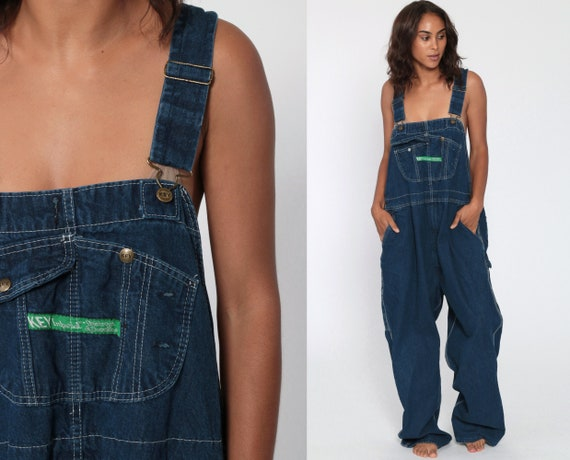 Baggy Overalls 90s Denim Bib Pants Jean Dungarees KEY IMPERIAL Wide Leg Coveralls Long Grunge Hipster Blue Carpenter Extra Large xl 2xl