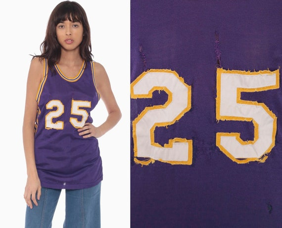 60s Basketball Jersey Rawlings Shirt 25 Number Shirt Purple Gold 50s Basketball Jersey Lakers Numbered Tank Top Vintage Extra Small xs