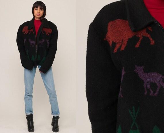 Boho Jacket TOTEM POLE PRINT 90s Animal Print Native American Jacket Ethnic Bohemian Wool Blend Deer Buffalo Vintage Black Extra Large xl