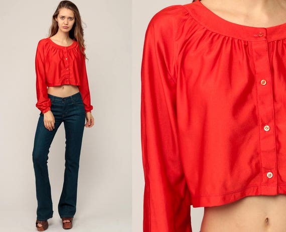 Long Sleeve Crop Top Cropped Shirt 70s Blouse Bohemian Tomato Red Button Up Disco Top Boho Hippie 1970s Seventies Medium