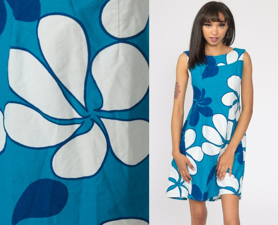 Hawaiian Dress 60s Blue Mod Mini Dress Shift Floral Boho Twiggy Flower Power Vintage Minidress 70s Sleeveless Malihini Extra Small xs