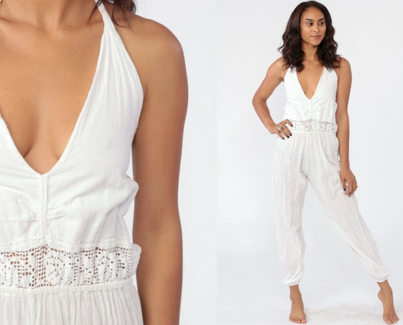 White Cotton Jumpsuit HALTER Onesie Playsuit Tapered Pant High Waisted Vintage Sleeveless Open Back Cut Out One Piece Extra Small xs s